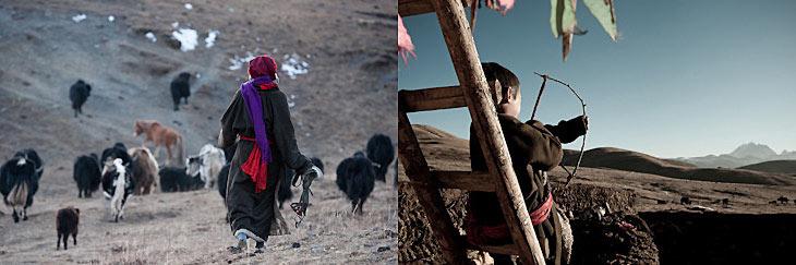 Tibetan nomads. Semi-nomadic Tibetans